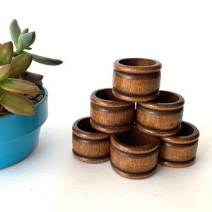 Other - Mid Century Modern Wood Napkin Rings Set of 7